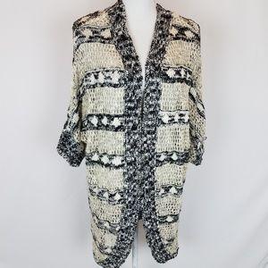 I.N. STUDIO Cardigan Size XL Black White Knit